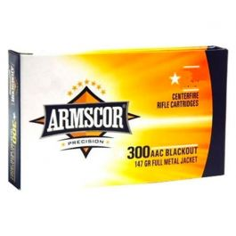 Image of Armscor 147gr FMJ 300 AAC Blackout Ammo, 100/Box - 50446