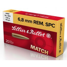 Image of Sellier & Bellot 115 gr Hollow Point Boat Tail 6.8mm SPC Ammo, 20/box - SB68D