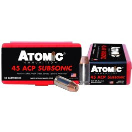 Image of Atomic Ammunition 250 gr Bonded Match Hollow Point .45 ACP Subsonic Ammo, 50/box - 00439