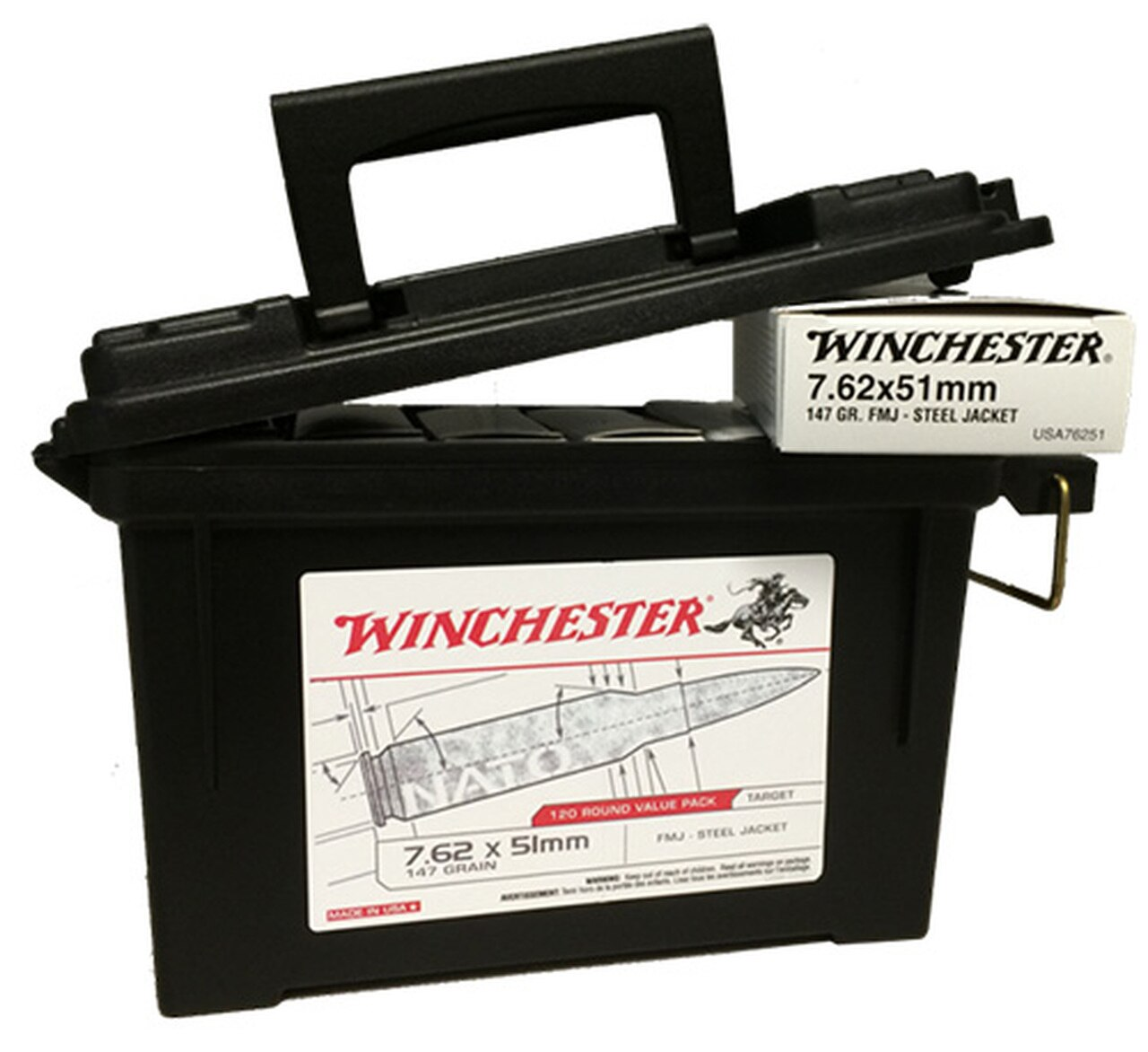 Image of Winchester 7.62mmx51mm NATO 147gr, FMJ, 120rd Ammo Can
